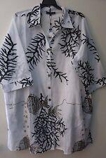Club Z 1X Women's White Brown Beach Swimsuit Coverup S/S Sun Tunic Shirt Coral
