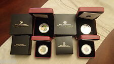 2013 & 2014 Venetian Silver Coins, matching Quarter Coins - 4 coins, boxes, COAs