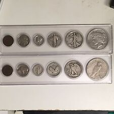 6 Coin OLD Set SILVER PEACE Dollar Walking/Standing/Mercury/Buffalo/Indian