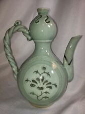 Vintage Green Glazed Ceramic Pottery Teapot Chinese crackled glaze Earthenware
