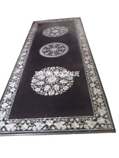 2.5'x5' Black Marble Top Dining Table Mother of Pearl Inlay Outdoor Mosaic Decor