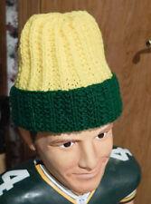 MENS GREEN BAY PACKERS GREEN / YELLOW HANDMADE CROCHET BEANIE TEAM CAP HAT