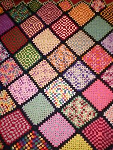 VTG Afghan Crochet Granny Square Blanket Handmade Throw Bed Couch Quilt 55x65