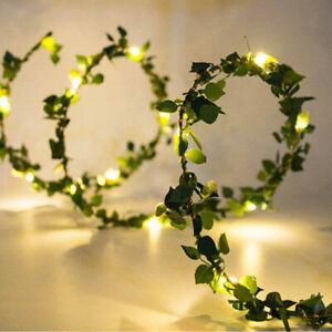 10M 100 LED Solar Fairy Lights String Outdoor Party Garden Ivy Leaf Light Lamp
