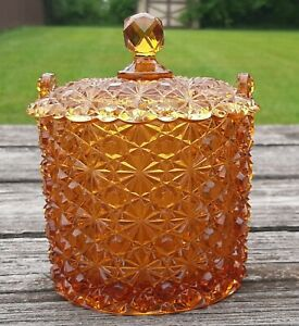 """Vintage FENTON Amber DAISY & BUTTON Covered Candy Dish 6"""" Tall Beautiful @@"""