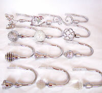 Chrome Curtain Tiebacks Hold backs Crystal Mosaic Leaf Ball Diamante Swirl Cage