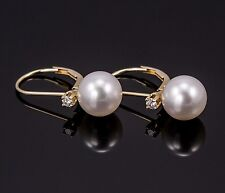 White Freshwater Pearl and Diamond Leverback Earrings 14K Yellow Gold Mountings