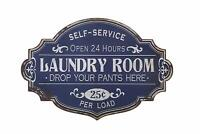 "Laundry Room Wall Distressed Blue Vintage Metal Sign 20"" x 14"""
