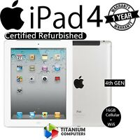Apple iPad 4th Generation 16GB, Wi-Fi + Cellular (Unlocked), 9.7in - White