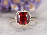 2ct Cushion Cut Red Garnet Engagement Ring Diamond Halo 14k Rose Gold Finish