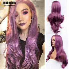Fashion Synthetic Lace Front Wigs Long Wavy Lavender Purple  Wigs For Women