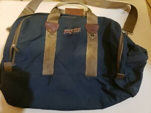Vintage 90s Jansport Duffle Bag Blue medium Made in USA Canvas Outdoor