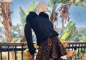 Authentic BURBERRY PRORSUM Black Leather SHEARLING PEPLUM JACKET US size 4.