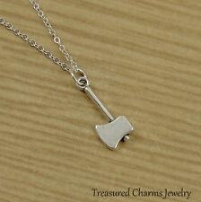 Silver Axe Necklace - Lumberjack Viking Barbarian Charm Pendant NEW