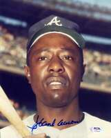 Hank Aaron PSA DNA Coa Hand Signed 8x10 Photo Autograph