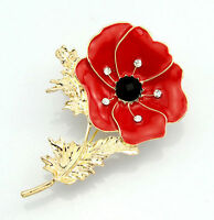 LARGE RED DIAMANTE POPPY FLOWER BROOCH CRYSTAL GOLD REMEMBRANCE PIN GIFT