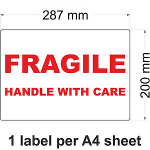FRAGILE - HANDLE WITH CARE Labels Stickers - Multiple Sizes Available