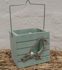 Aqua Chic Bird Tea Light T Candle Holder Lantern Shabby Wood Easter Nautical