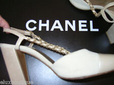 "CHANEL Gold Matelasse Chain Slngback 9.5-10.5 SHOES Suede Leather Chunky 4"" Heel"