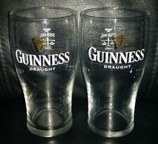 PAIR OF RARE COLLECTABLE GUINNESS DRAUGHT 568ML PINT BEER GLASSES BRAND NEW