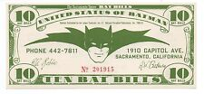 1966 Ten Batbills Batman Currency Note from the Sacramento Union