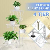 4 Tires Metal Plant Flower Pot Stand Display Shelf Rack Home Garden Decor White