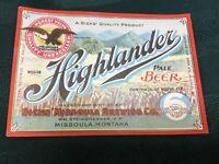 Highlander Beer Bottle Label IRTP Missoula Montana NOS