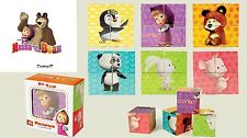 Masha and the Bear plastic cubes puzzle 4psc Маша и Медведь кубики