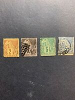 France. French Colonies. 1881~86.Lot of 4