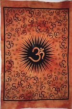 Orange Cotton Small Tapestry Poster Wall Hanging Om Universal Sound Peace