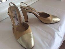 François Villon Chaussures à talon beige & Or 2 Tone Leather pumps sz 38 UK 5 Mariage