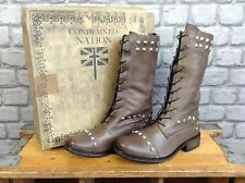 CONDEMNED NATION LADIES UK 5 EU 37 BROWN BETHNAL STUD LACE BOOTS RRP £85.00