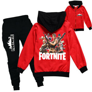 Boys Girls Kids Fortnite Tracksuit Zip Hooded Top Outfit Sports Set Tops+Pants