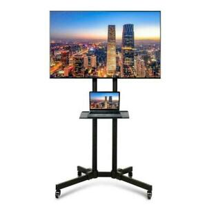 Mobile Floor Standing TV Stand Cart Unit with Bracket Mount Tray Trolley Wheels