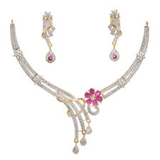 Geode Delight Floral Ruby Cubic Zirconia Gold Plated Necklace With Earring