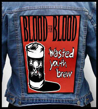 BLOOD FOR BLOOD - Wasted Youth Crew --- Giant Backpatch Back Patch
