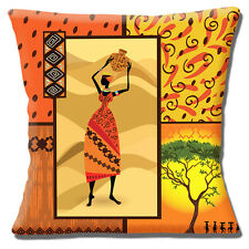 "AFRICAN TRIBAL LADY ORANGE YELLOW BEIGE SHADES PRINTED 16"" Pillow Cushion Cover"