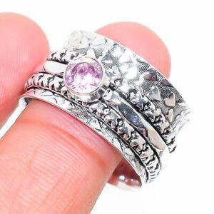 Pink Kunzite Gemstone Handmade 925 Sterling Silver Jewelry Ring Size 10 W469