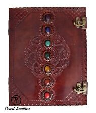 Seven Medieval Stone Notebook Handmade Book of Shadow Leather Journal 13x10