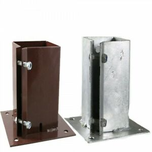 BOLT DOWN Fence Post Support Anchor Holder | Red Oxide / Galvanised | ALL SIZES