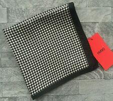 Hugo Boss schwarz & weiß Houndstooth silk pocket square Made in Italien BNWT
