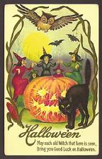 Halloween, Witches Dance, Owl, Bats, Black Cat, Pumpkin,  Postcard,,,