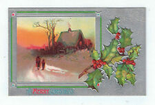 Vintage Postcard A Merry Christmas House Scene Embossed Holly Silver Background