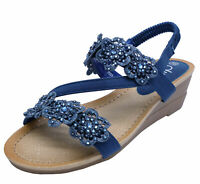 LADIES BLUE OPEN-TOE LOW WEDGE COMFY SANDALS HOLIDAY SUMMER SHOES SIZES 3-5