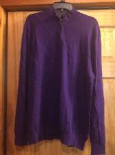 Tiger Woods Sweater Large  Purple Cashmere Cotton Blend 1/2 Zipper