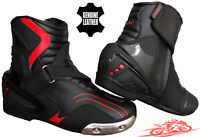 REAL LEATHER RED BLACK MENS MOTORBIKE MOTORCYCLE RACING SPORTS SHOES SHORT BOOTS