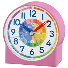 Seiko Childrens Time Teaching Pink Alarm Clock, Kids Bedroom Table Clock