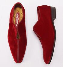 New $775 SUTOR MANTELLASSI Burgundy Velvet Slip-On Evening Shoes US 7 D Tuxedo