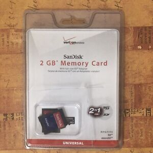 Scan Disk 2GB Memory Card With Full Size SD Adaptor