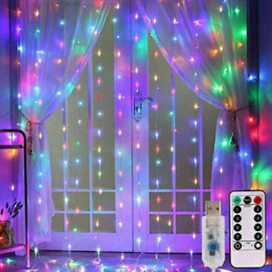 300 LED Curtain Fairy String Lights In/Outdoor Backdrop Wedding Xmas Party Decor